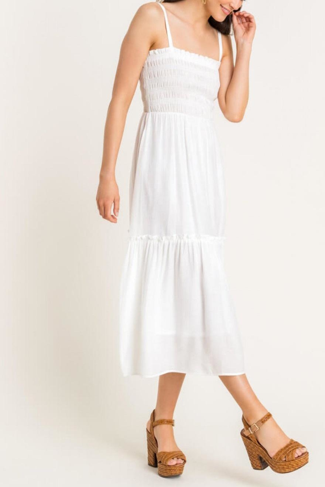 Lush Clothing  Cami Tiered Midi-Dress - Side Cropped Image