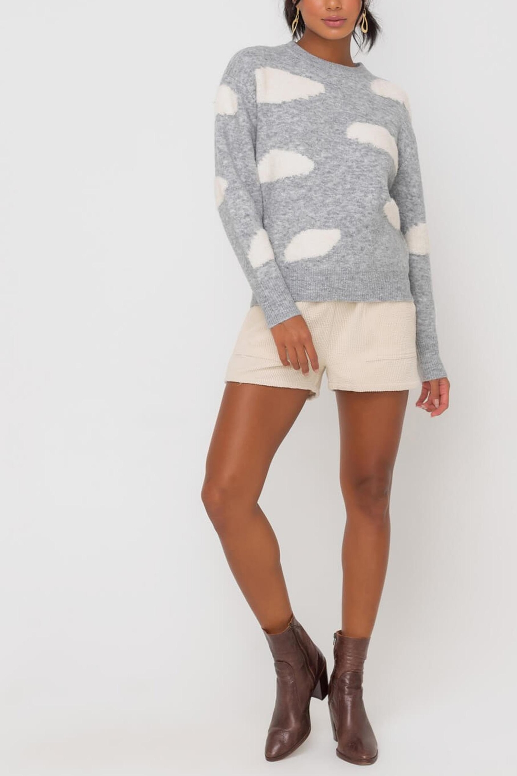 Lush Clothing  Cloud Print Sweater - Side Cropped Image
