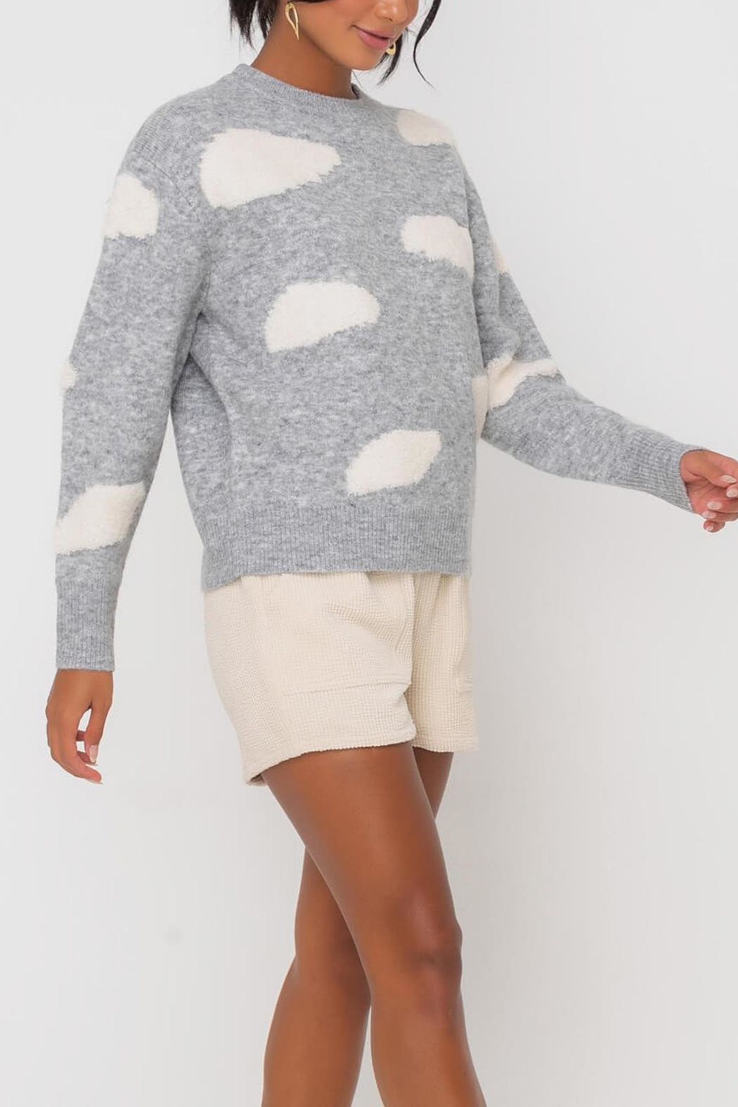 Lush Clothing  Cloud Print Sweater - Front Full Image