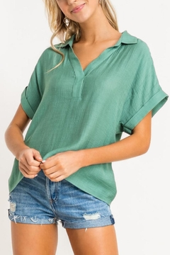 Lush Clothing  Collared Top - Green - Product List Image
