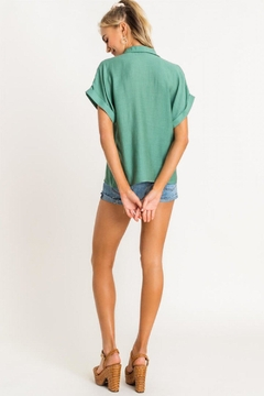 Lush Clothing  Collared Top - Green - Alternate List Image