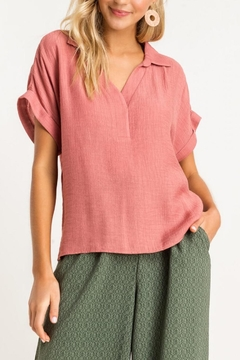 Lush Clothing  Collared Top - Rose - Product List Image