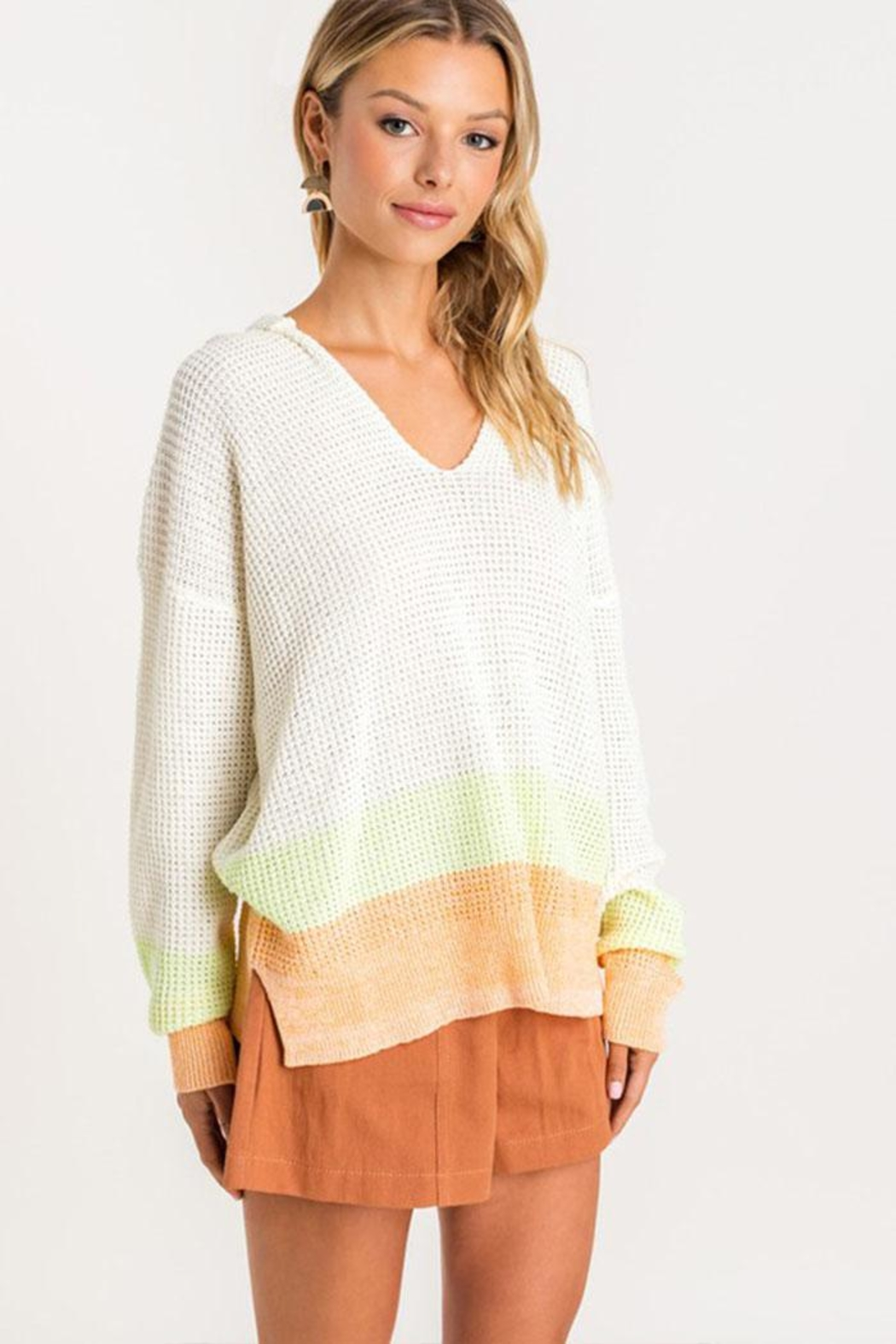 Lush Clothing  Colorblock Hooded Sweater - Main Image