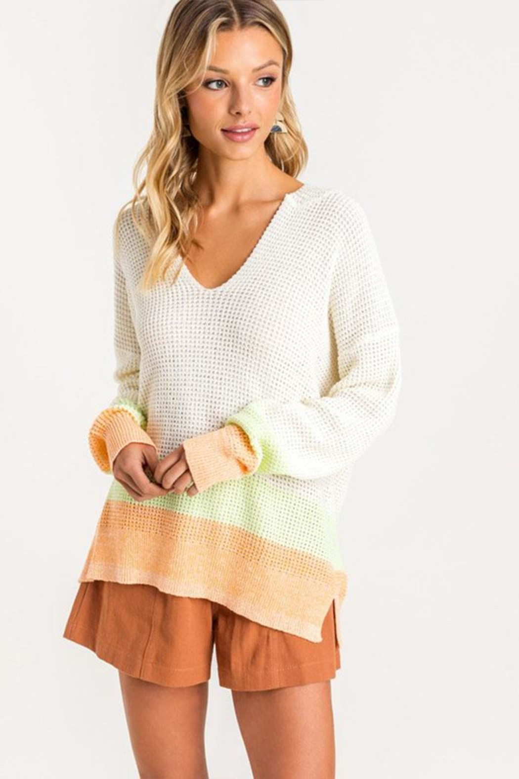 Lush Clothing  Colorblock Hooded Sweater - Side Cropped Image