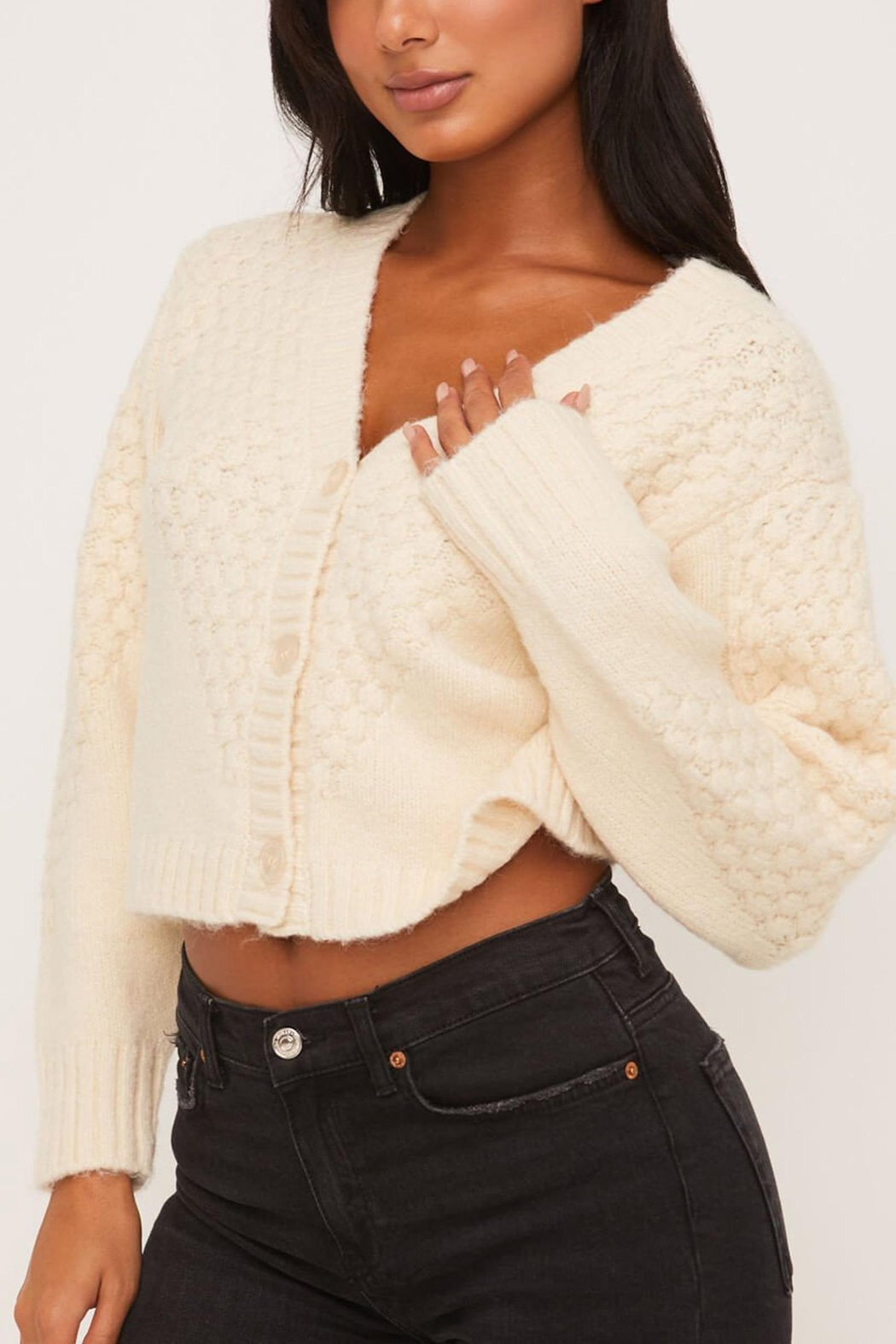Lush Clothing  Cropped Cardigan Sweater - Front Cropped Image