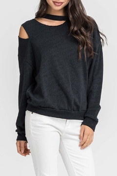 Shoptiques Product: Cutout Charcoal Sweatshirt