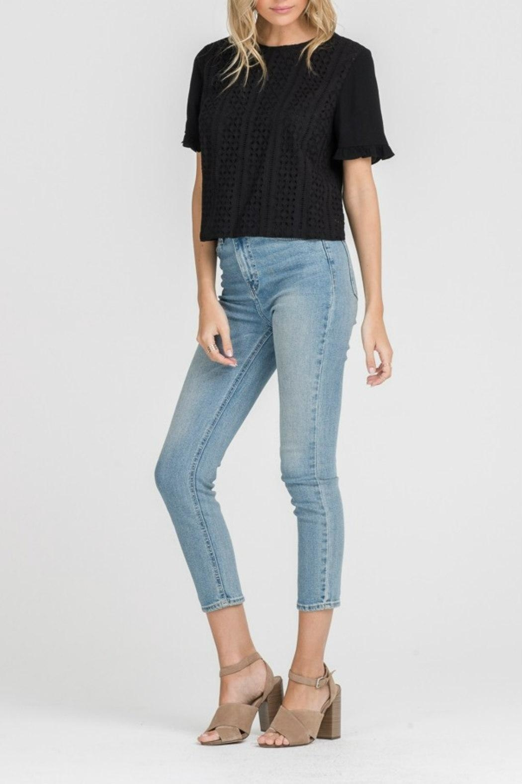 Lush Clothing  Eyelet Ruffle-Sleeve Top - Side Cropped Image