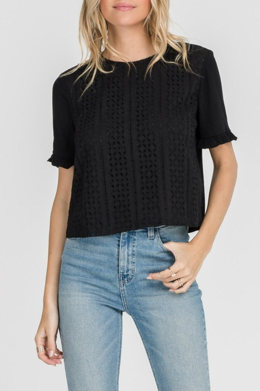 Lush Clothing  Eyelet Ruffle-Sleeve Top - Main Image