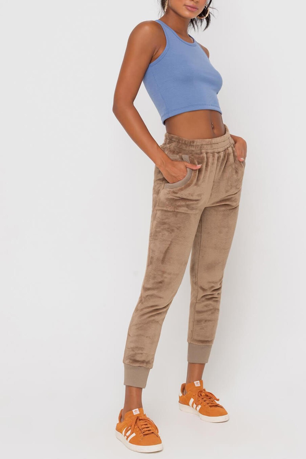 Lush Clothing  Faux-Fur Cuffed Jogger-Pants - Side Cropped Image