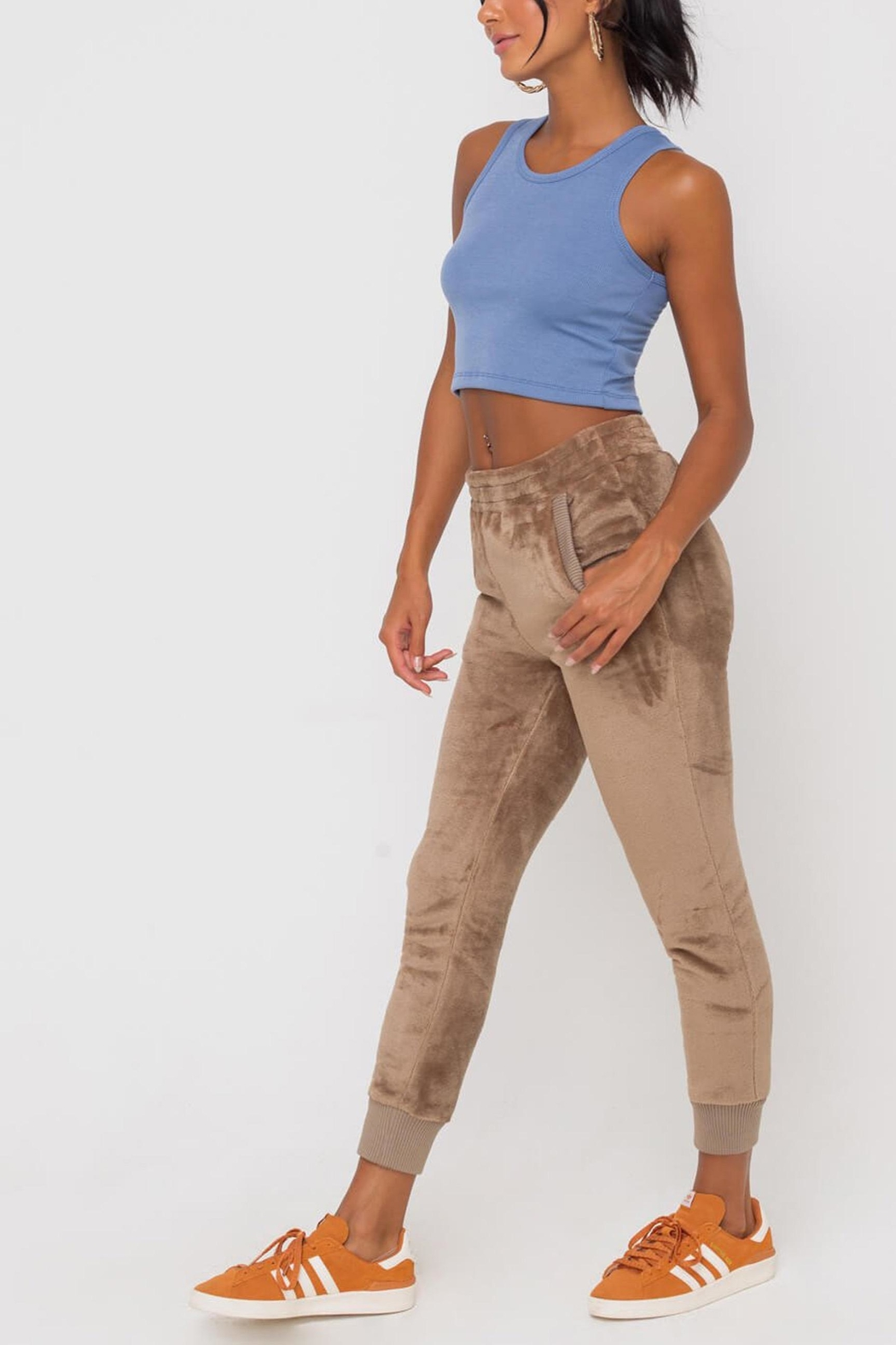 Lush Clothing  Faux-Fur Cuffed Jogger-Pants - Front Full Image