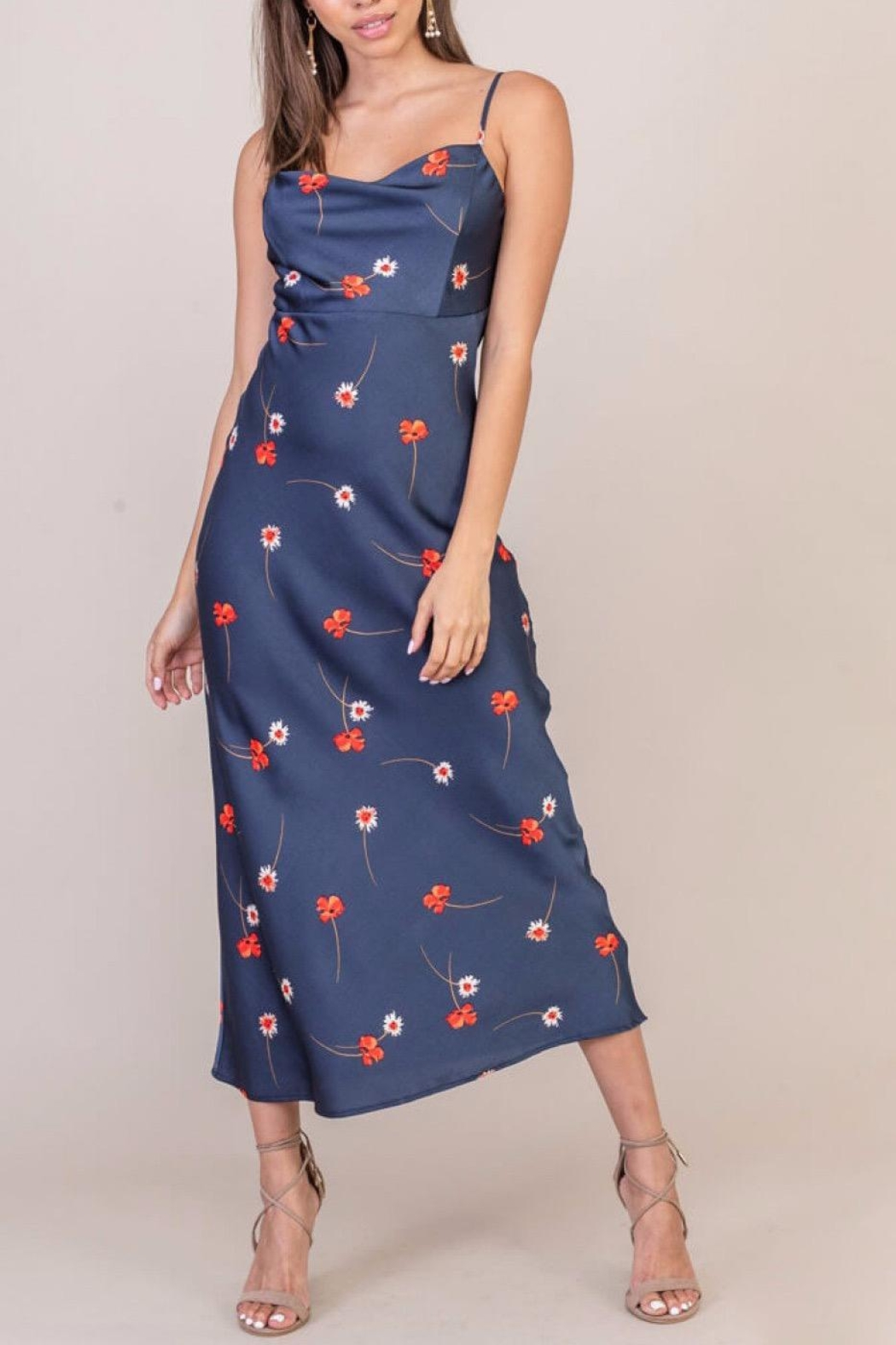 Lush Clothing  Floral Print Satin Dress - Front Cropped Image
