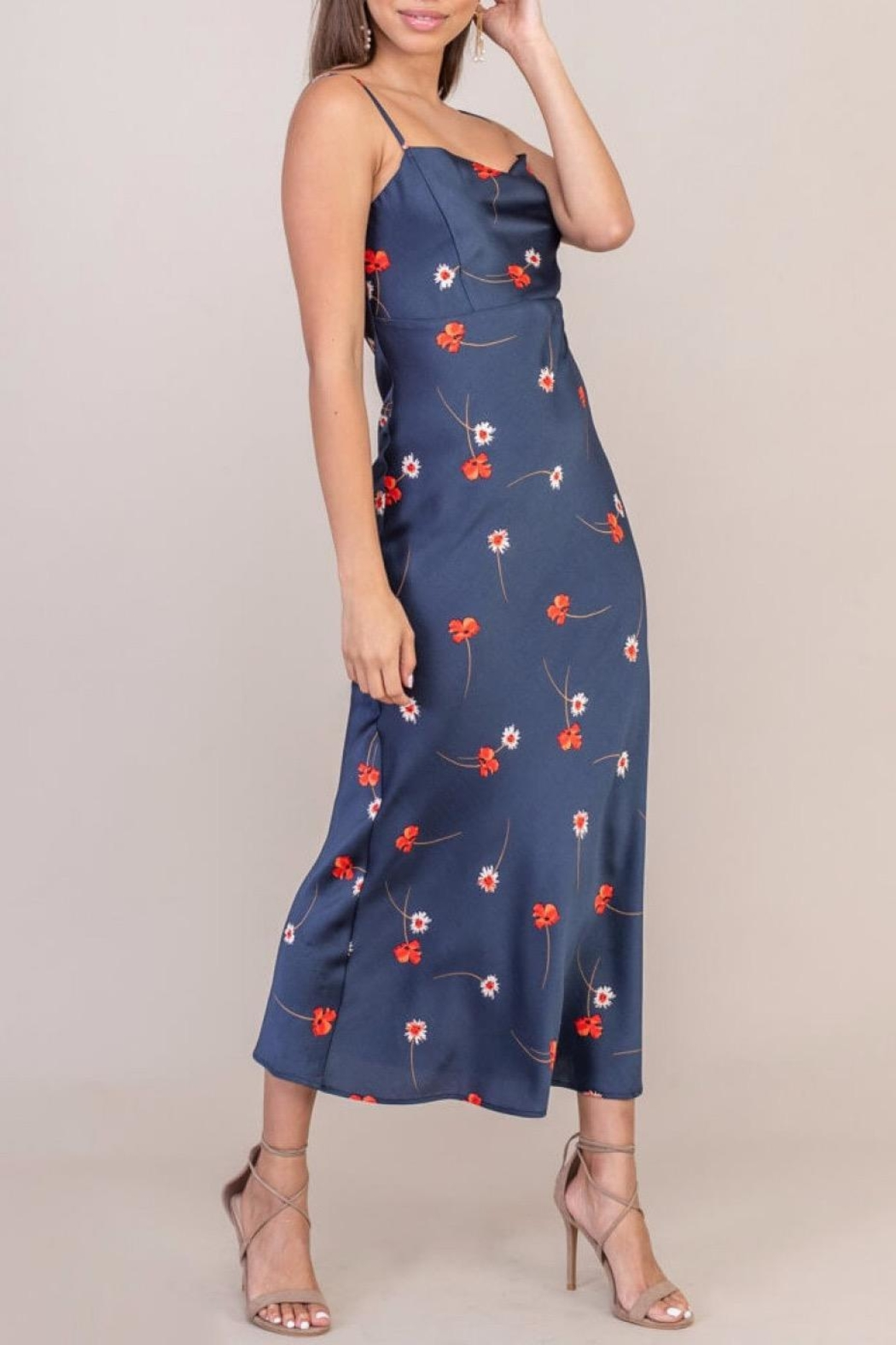 Lush Clothing  Floral Print Satin Dress - Front Full Image