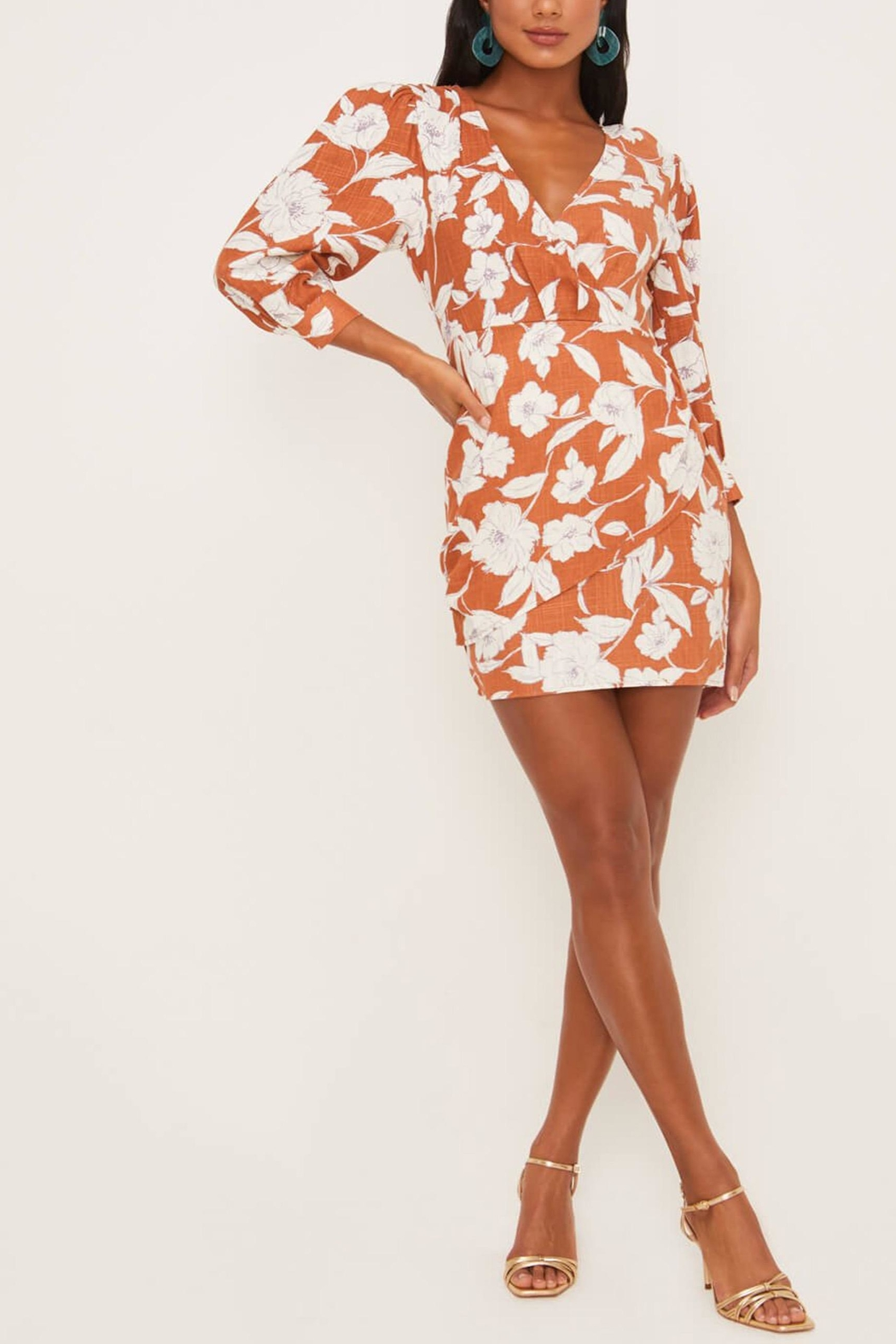 Lush Clothing  Floral Surplice Dress - Front Full Image