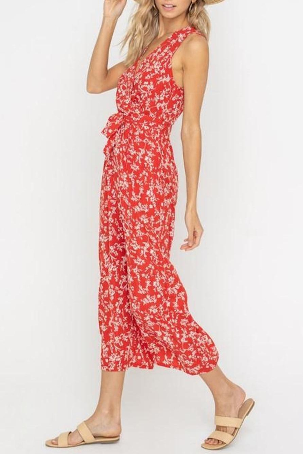 Lush Clothing  Floral Waist-Tie Jumpsuit - Side Cropped Image