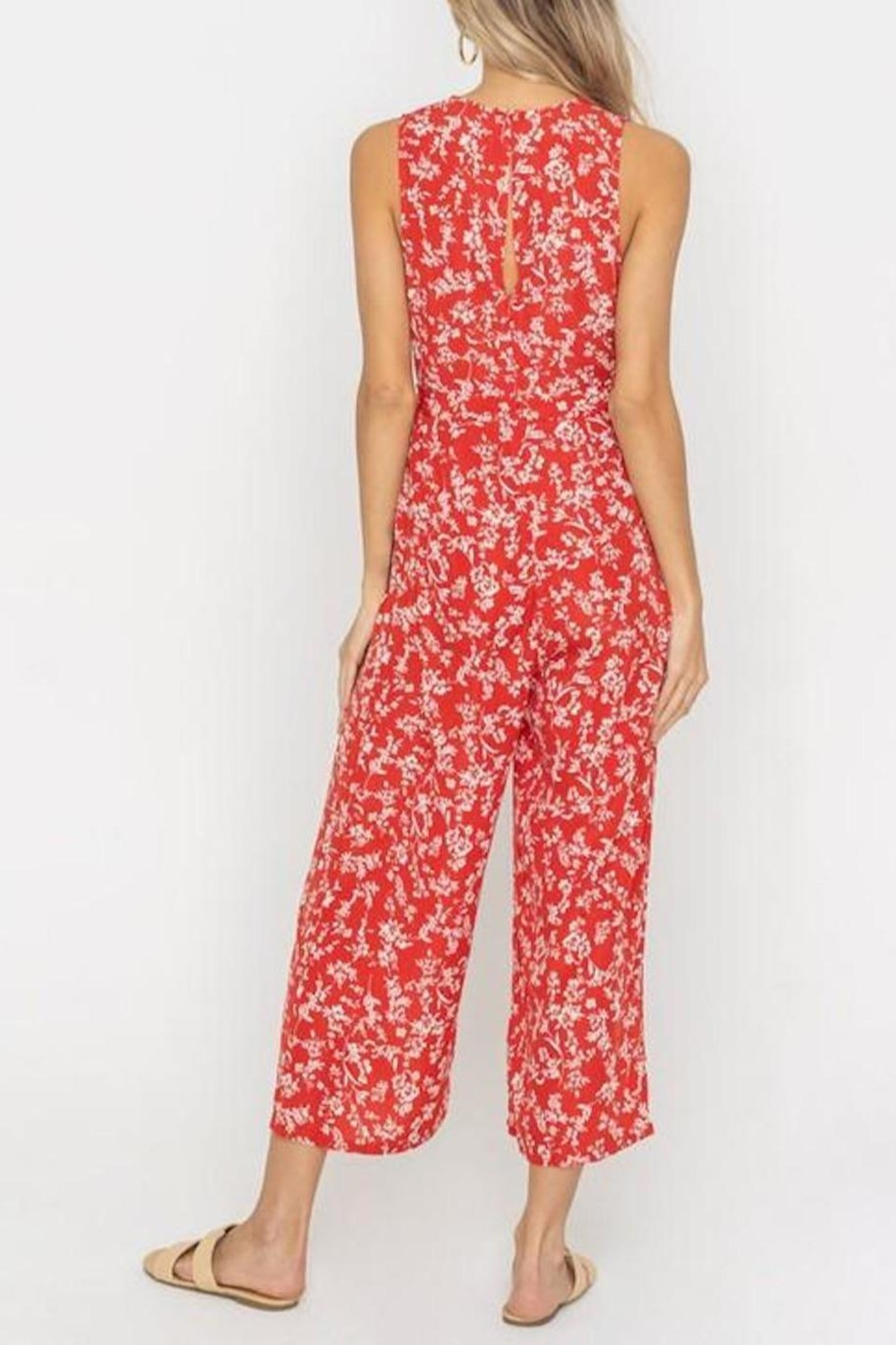 Lush Clothing  Floral Waist-Tie Jumpsuit - Back Cropped Image
