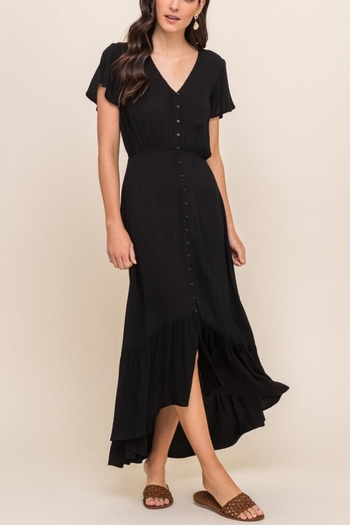 Lush Clothing  Flutter-Sleeve Button-Down Maxi-Dress from Virginia by mod&soul — Shoptiques