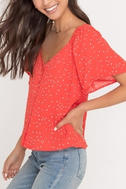 Lush Clothing  Flutter-Sleeve Polka-Dot Top - Product Mini Image