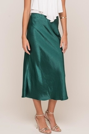 Lush Clothing  Hunter Green Satin Mini Skirt - Product Mini Image