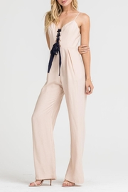Lush Clothing  Lace-Up Corset Jumpsuit - Front full body