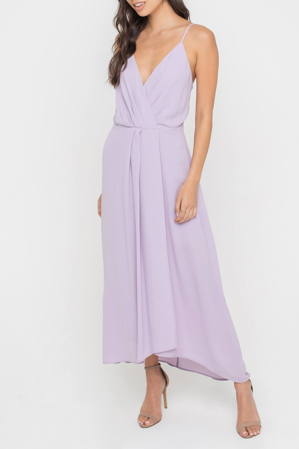 Lush Clothing  Lilac Midi Dress - Front Cropped Image