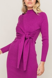 Lush Clothing  Mock-Neck Front-Tie Sweater0dress - Back cropped