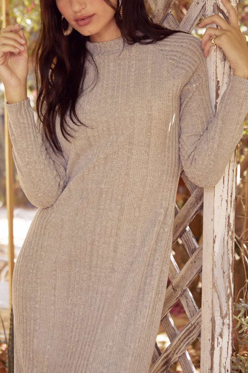 Lush Clothing  Mock-Neck Knit Dress - Front Full Image