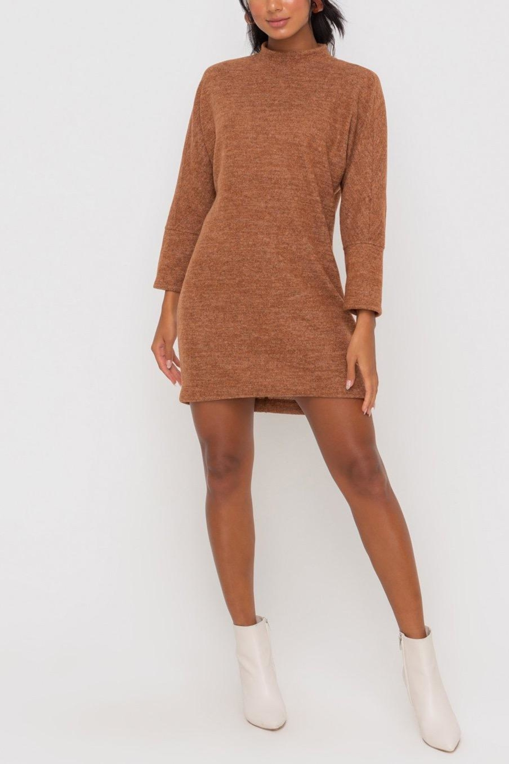 Lush Clothing  Mock-Neck Knit-Dress - Hazel - Main Image