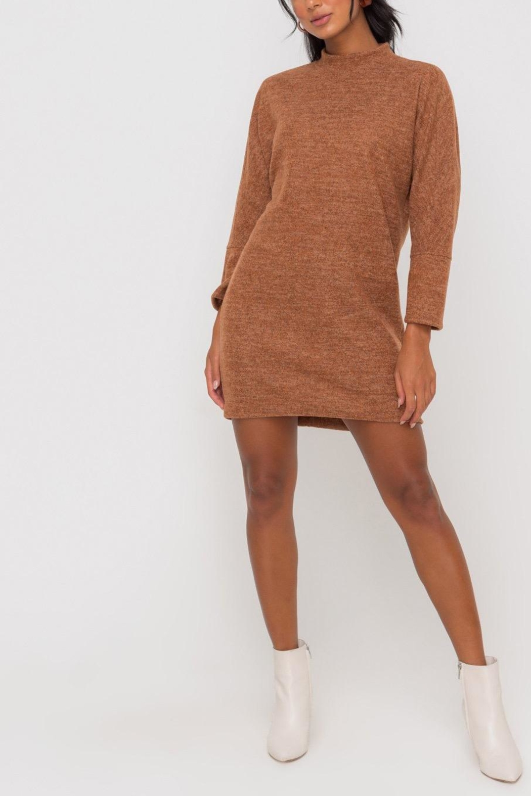 Lush Clothing  Mock-Neck Knit-Dress - Hazel - Front Full Image