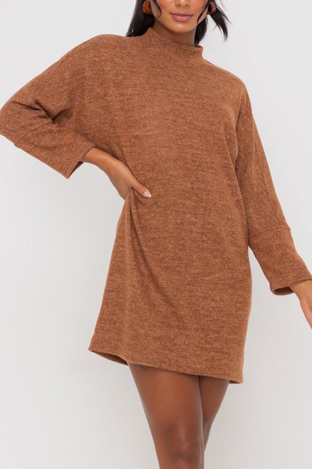 Lush Clothing  Mock-Neck Knit-Dress - Hazel - Side Cropped Image