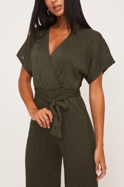 Lush Clothing  Olive Wrap-Front Dolman-Jumpsuit - Side cropped