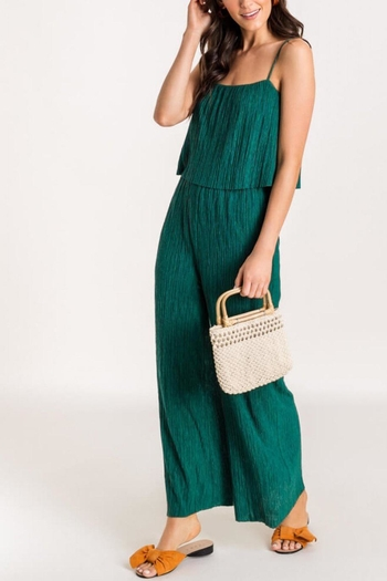 Lush Clothing  Pleated-Layered Jumpsuit - Evergreen from Virginia by mod&soul — Shoptiques