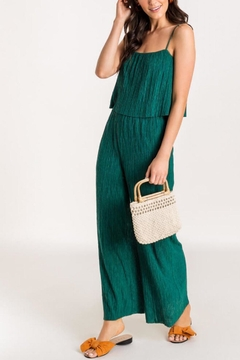 Lush Clothing  Pleated-Layered Jumpsuit - Evergreen - Product List Image