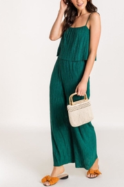 Lush Clothing  Pleated-Layered Jumpsuit - Evergreen - Product Mini Image