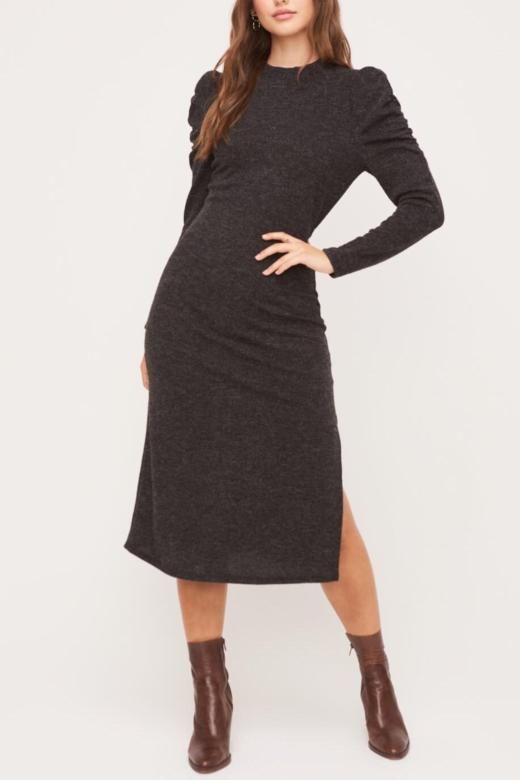 Lush Clothing  Puff-Shoulder Knit Dress - Back Cropped Image