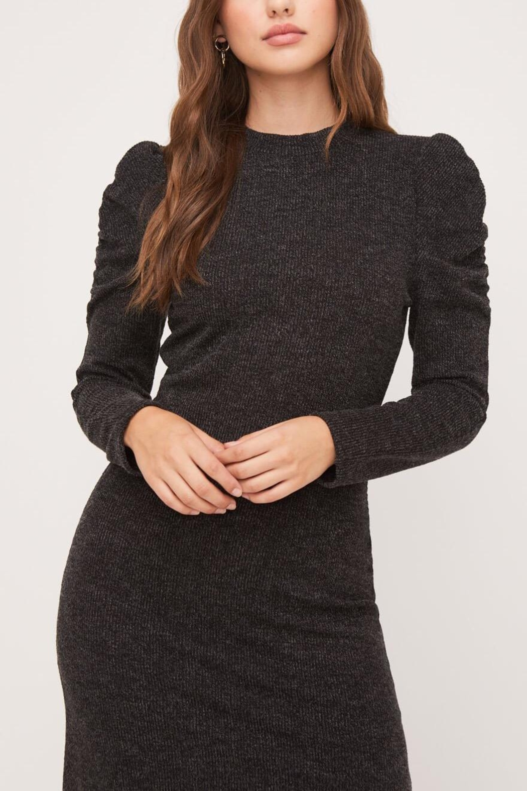 Lush Clothing  Puff-Shoulder Knit Dress - Side Cropped Image