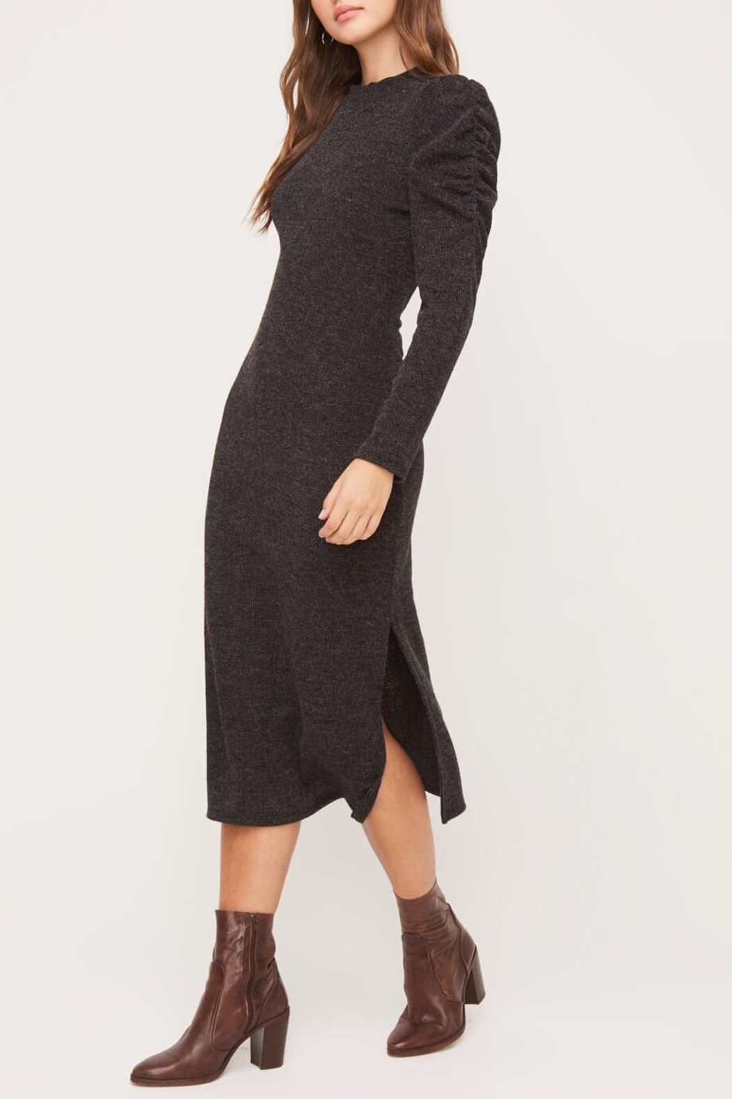 Lush Clothing  Puff-Shoulder Knit Dress - Front Full Image