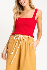Lush Clothing  Red Smocked Crop-Top - Product Mini Image