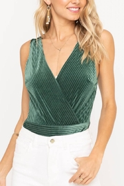 Lush Clothing  Ribbed Velvet Bodysuit - Front full body