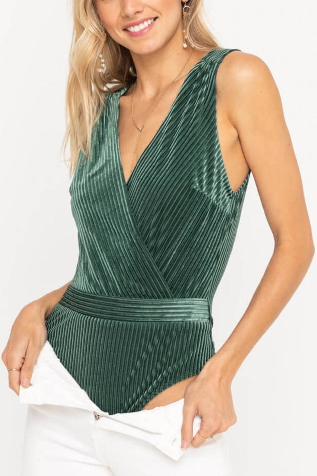 Lush Clothing  Ribbed Velvet Bodysuit - Main Image