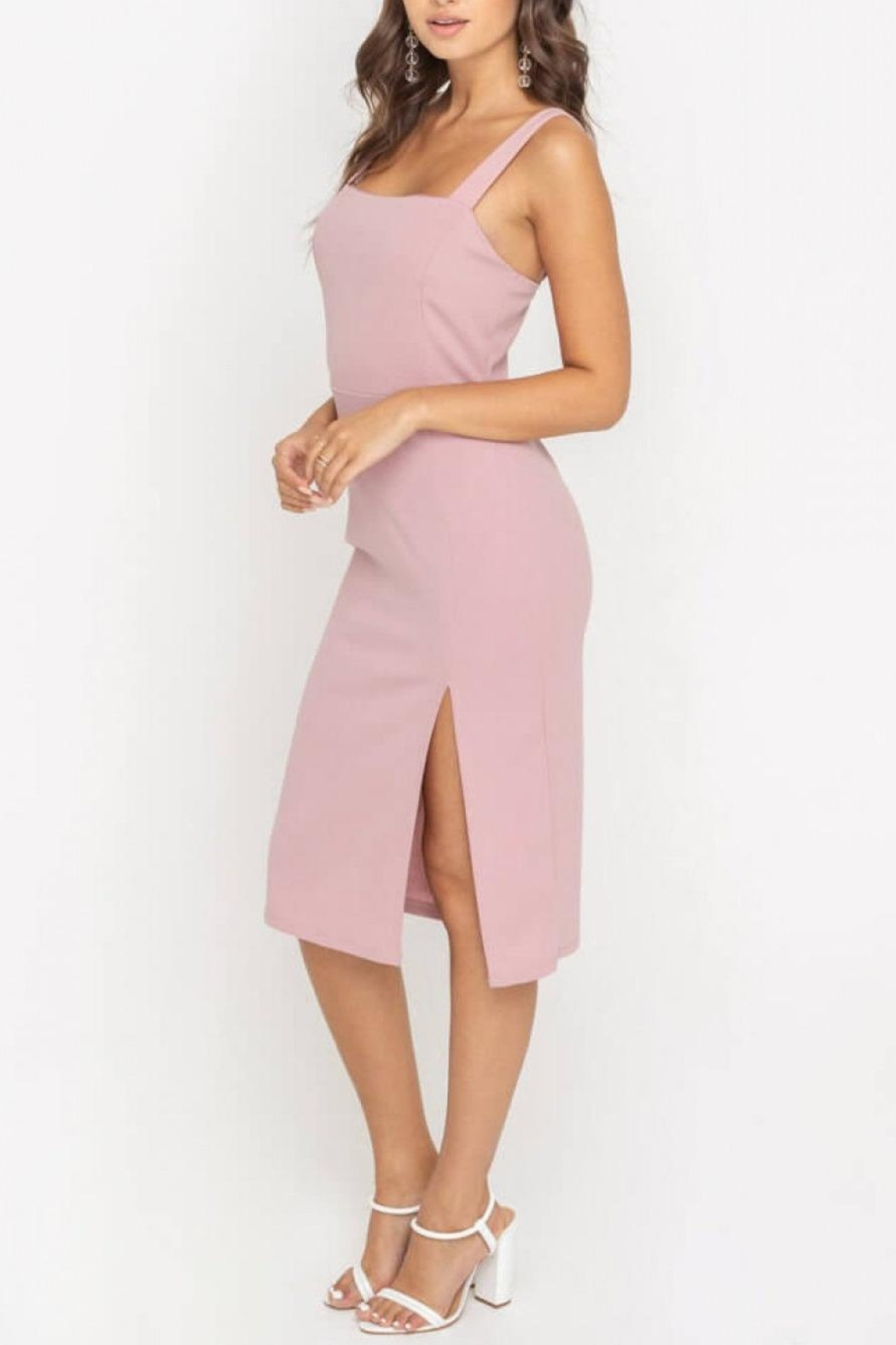 Lush Clothing  Side-Slit Fitted Cocktail-Dress - Front Full Image
