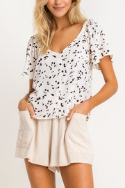 Lush Clothing  Speckled Flutter-Sleeve Blouse - Product Mini Image