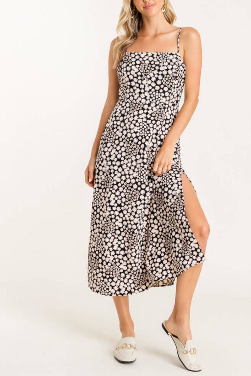 Lush Clothing  Square-Neckline Floral Dress - Side Cropped Image