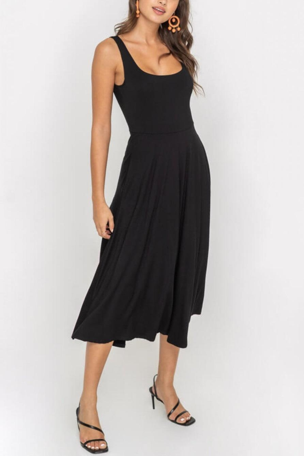 Lush Clothing  Square-Neckline Jersey Midi-Dress - Front Cropped Image