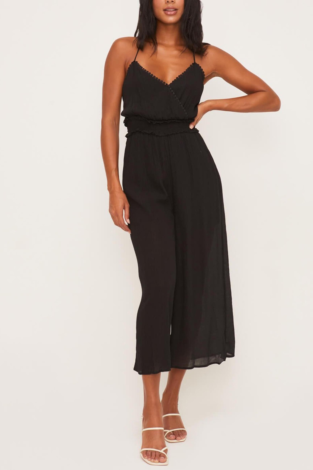 Lush Clothing  Strappy-Back Smocked Jumpsuit - Side Cropped Image