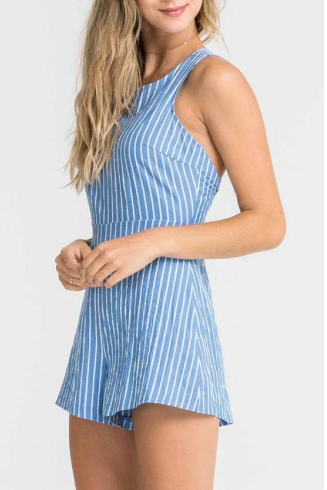 Lush Clothing  Strappy Striped Romper - Side Cropped Image