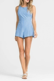Lush Clothing  Strappy Striped Romper - Front cropped