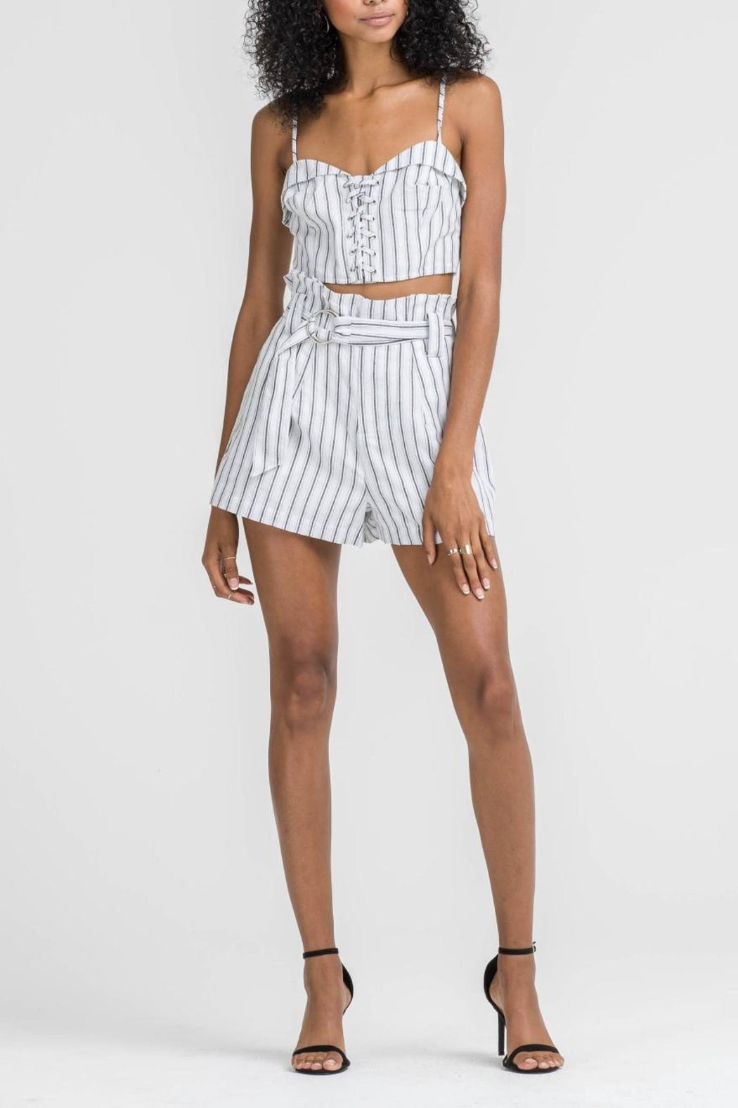 Lush Clothing  Striped Belted Shorts - Front Full Image