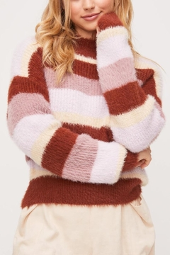 Lush Clothing  Striped Fuzzy Sweater - Product List Image