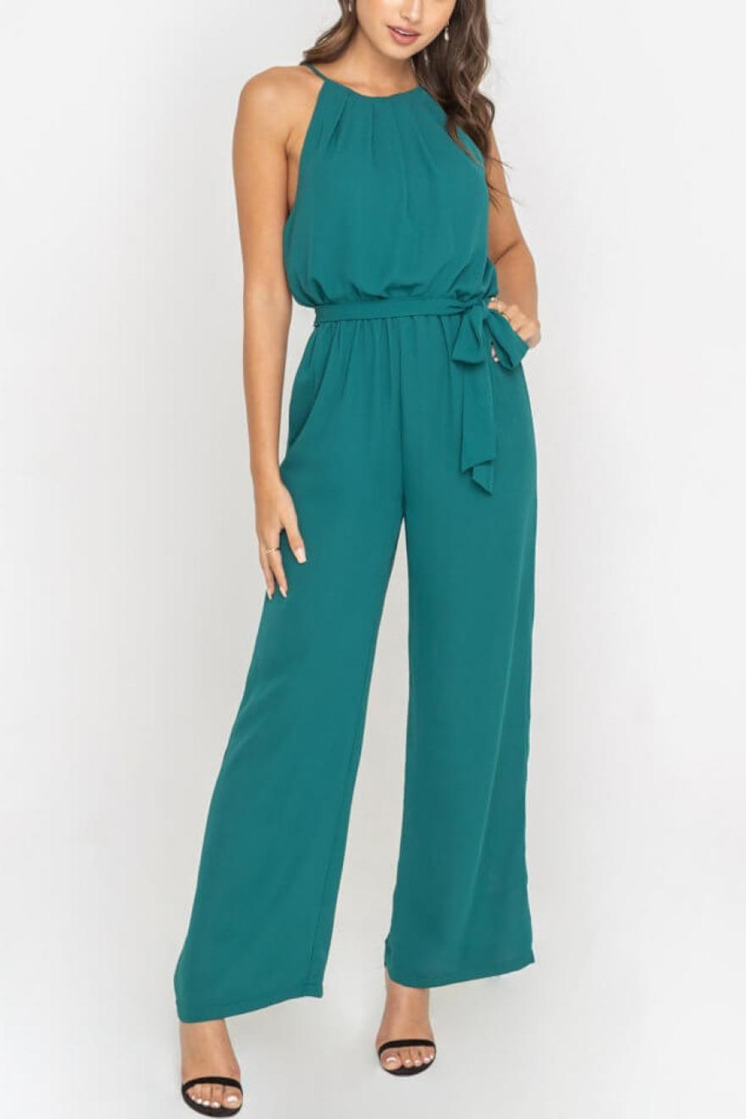 Lush Clothing  Teal Halter Jumpsuit - Front Full Image