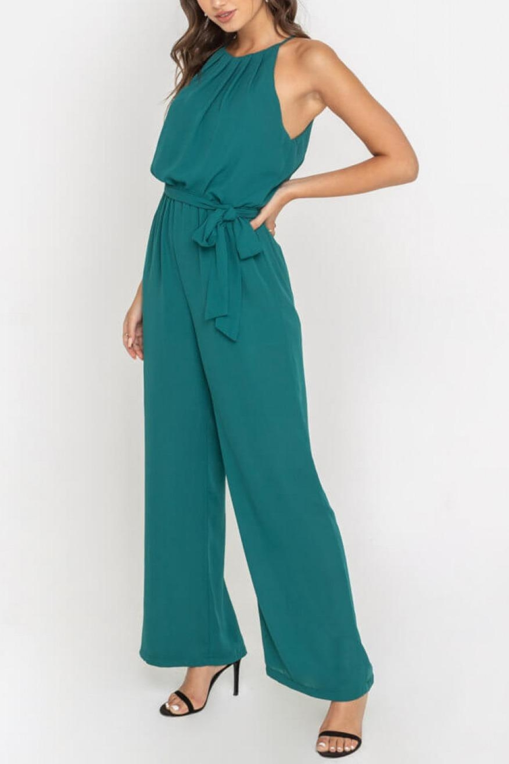 Lush Clothing  Teal Halter Jumpsuit - Main Image
